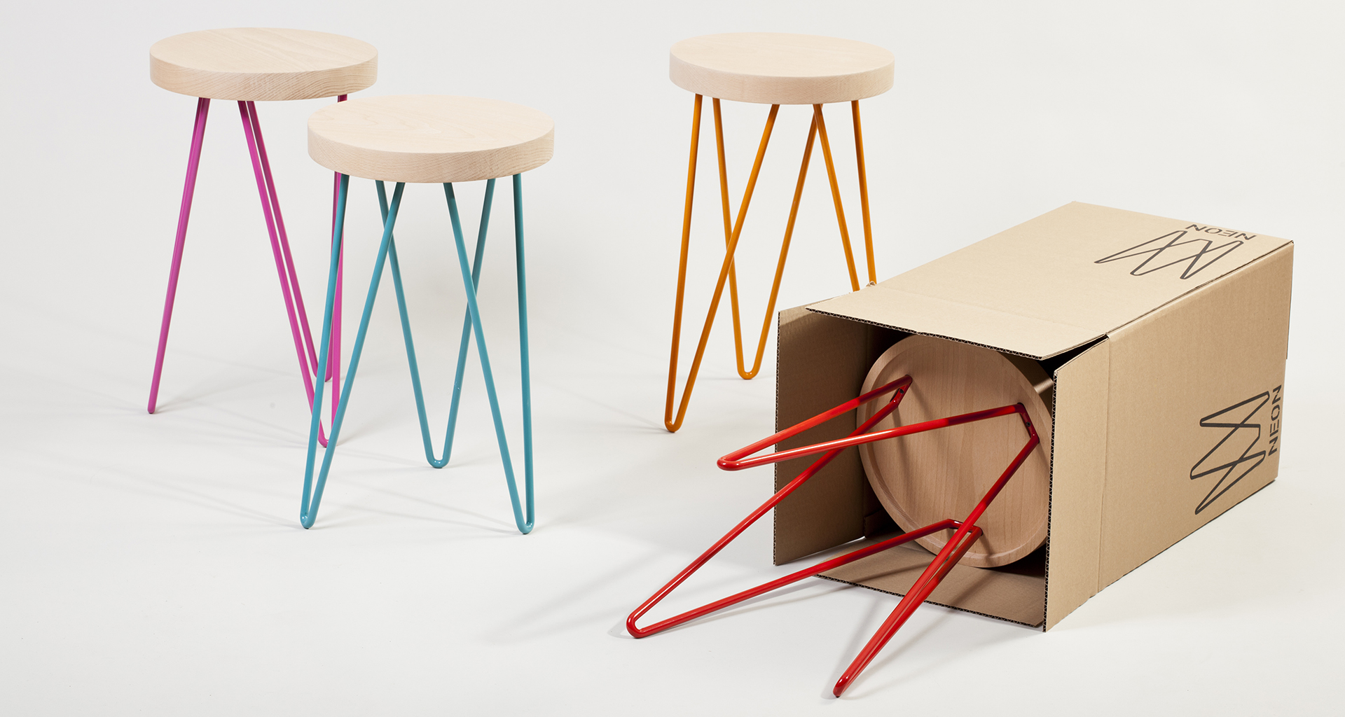 Studio praktik neon stool for Product design studio